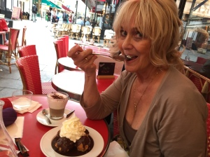 Sexy Trisha Parker eating dessert in a Paris Cafe