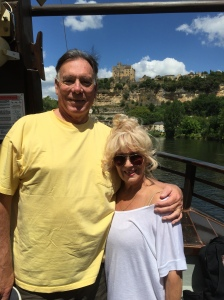 Trisha and John Parker boating on the Dordogne River, south of France